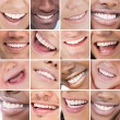 Collage of bright white smiles — ストック写真