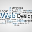 Group of blue web design terms — Foto Stock #25733369