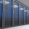 Hallway with row of tower servers — Stock Photo