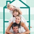 Family having fun doing a piggyback — Stock Photo