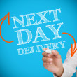 Foto Stock: Businesswomwriting next day delivery
