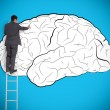 Businessman drawing a brain on a giant wall — Stock Photo #25733915