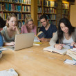 Stock Photo: Students learning in a library
