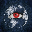 Red eye over blue texture surrounded by a drawing of the earth — Stock Photo
