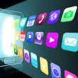 Holographic applications coming out from a smartphone — Stock Photo