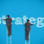 Multiple image of businessman writing strategy — Stock Photo