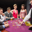 Looking at dealer dealing blackjack cards — Stock Photo #25735271