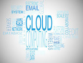 Cloud computing terms in blue — Stock Photo