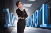 Businesswoman thinking in data center — Stock Photo
