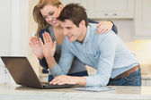 Couple chatting via webcam — Stock Photo