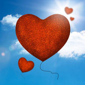 форма сердца красные шары — Стоковое фото
