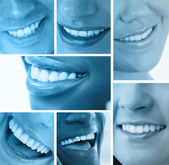 Collage of white smiles in blue tint — Stock Photo