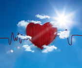 Heart rate line in the sky — Stock Photo