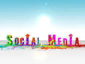 Paint splatter spelling out social media — Stock Photo