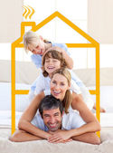 Family having fun doing a giant piggyback — Stock Photo