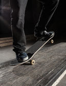 Close up of skater doing manual trick — Stock Photo