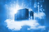 Data servers resting on clouds in blue — Stock Photo