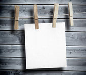 White paper hung on laundry line — Stock Photo