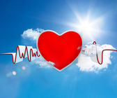 Heart rate waveform with big red heart — Stockfoto