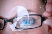 Womans eye being scanned for authorization — Stock Photo