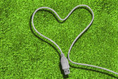 Usb cable forming a heart — Stock Photo