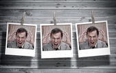 Three instant photos of an angry businessman — Stock Photo