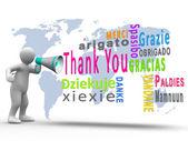 Biała postać odsłaniając dziękuję w różnych językach z megafon — Zdjęcie stockowe