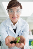 Smiling woman holding tiny plant — Stock Photo