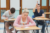 Student wanting to ask question in class — Stock Photo