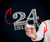 Businesswoman writing 24 delivery — Stock Photo