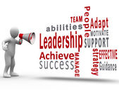 White figure revealing leadership terms with a megaphone — Stock Photo