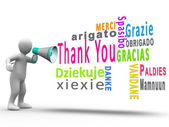 White human figure revealing thank you in different languages — Stock Photo