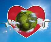 Green and white waveform with green earth and red heart — Stock Photo