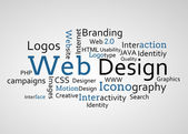 Group of blue web design terms — Stock Photo
