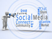White figure revealing social media terms with a megaphone — Stock Photo