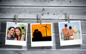 Serial instant photos of holiday scenes hung with a peg in line — Stock Photo