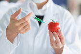 Scientist injecting a tomato — Stock Photo
