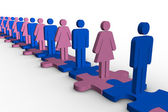 Line of blue and pink human forms standing over meshed jigsaw pieces — Stock Photo