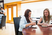 Two woman sitting in cafeteria and drinking coffee — Stock Photo
