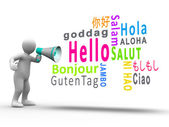 White figure revealing hello in different languages with a megaphone — Stock Photo
