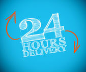24 hours delivery drawing with orange arrows — Stock Photo