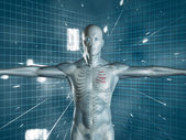 Human medical representation standing over futuristic background — Stock Photo