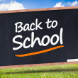 Stock Photo: Back to school written on blackboard