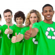 Stock Photo: Smiling group of environmental activists giving thumbs up