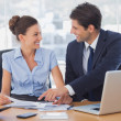 Happy business working together and smiling — Stock Photo