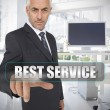 Stock Photo: Businessmtouching term best service