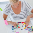 Stock Photo: Interior designer working on colour wheel