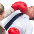 Businesswoman boxing her co worker — Stok fotoğraf