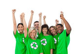 Group of smiling activists raising arms — Stock Photo