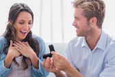 Man offering an engagement ring to his partner — Stock Photo